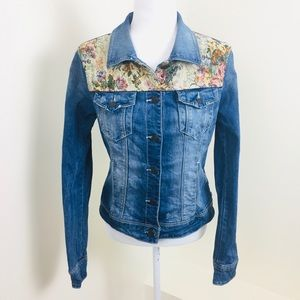 Forever 21 Embroidered Panel Denim Jacket